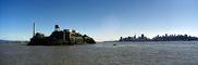 San Francisco Oakland Bay Bridge, Alcatraz Island, skyline, buildings, Panorama