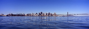 San Francisco Oakland Bay Bridge, Panorama, calm water, baseball park, skyline, buildings, CSFV21P04_09