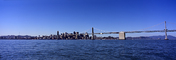 San Francisco Oakland Bay Bridge, Panorama, calm water, skyline, buildings, CSFV21P04_10
