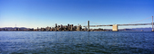 San Francisco Oakland Bay Bridge, Panorama, calm water, skyline, buildings, CSFV21P04_11