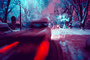 Twilight, Dusk, Trees Covered in Snow, snow storm, Nighttime, winter, car
