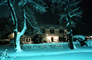 House Covered in Snow, snow storm, building, trees, Nighttime, winter