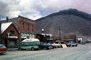 Van, cars, hill, buildings, automobile, vehicles, Silverton, October 1978, 1970's