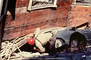 German Shepard, Rescue Dog, Rescuers, Collapsed Home, Crushed Car, Marina district, Loma Prieta Earthquake (1989), 1980's, DAEV01P13_17