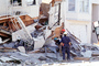 Rescuers, Dogs, Crushed House, Marina district, Loma Prieta Earthquake (1989), 1980's, DAEV01P14_12