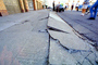 Sidewalk in Upheaval, Curb, Marina district, Loma Prieta Earthquake (1989), 1980's, DAEV02P01_17