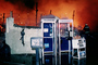 Telephone Booths, newspaper stands, Pier fire, San Francisco, DAFV02P01_10