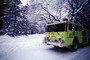 Fire Engine, snow, ice, cold, trees, forest, woodland, road, DAFV03P11_18