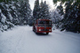 Fire Engine, snow, ice, cold, trees, forest, woodland, road, DAFV03P12_02