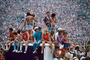 Audience, People, Crowds, Spectators, JFK Stadium, Live Aid Benefit Concert, 1985, 1980's, EMCV01P06_19