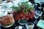 Crawdads, Crayfish, Table Setting, Glasses, Annis, Dill, Bread, FDNV01P02_07.0944