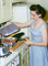 Woman Cooking in the Kitchen, Meat, Gas Stove, electric frying pan, May 1960, 1960's, FDNV02P07_02B