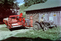 Old Tractor and Square Baler, barn, building, swather, windrower, 1940's