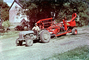 Old Tractor and Square Baler, swather, windrower, 1940's