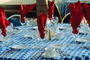 Coffee cups, plates, tablecloth, Wine Glasses, Napkins, table setting