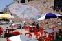 Parasol, Umbrella, tables, ancient wall, FRBV04P07_02
