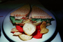 sandwich, vegetable chips, plate, Rye Bread, FTCV01P07_01