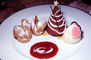 Japanese Swan Pastry, powdered sugar, Pink Hears, Chocolate Cone, FTDV01P07_12