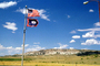 Wyoming State Flag, Old Glory, USA, United States of America, Fifty State Flags, Windy, Windblown, GFLV03P06_07