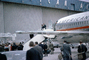 Barry Goldwater steps out of the Plane, Presidential Campaign 1964, Boeing 727-23, N1982, 1960's, GNUV01P06_09