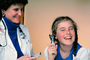 Doctor and girl patient, ear examination, otoscope, ear scope, Female, Woman, HODV01P07_18