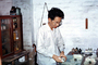Apothecaries Canvas, Apothecary, Man, Male, Chinese Medicine, lab, drugs, Mortar and pestle, China, June 1973, 1970's, HPDV01P08_09