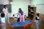 Trampoline, training, instruction, teachers, teaching, classroom, class room, exercising, girl