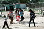 Jump Rope in Play yard, elementary school, Colonia Flores Magon, Skipping Rope, Schoolgirls