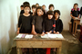 Old Wooden Desk in Classroom, Girls, Schoolroom, Group, Classroom, Desk, Afghanistan, 1974, 1970's