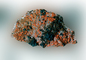 Calcite with included Chalcotrichite , Malachite, MMCV01P03_11