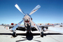 Shiney Chrome Propeller, North American P-51D Mustang, head-on, MYFV11P07_04