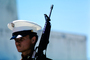 Marine Color Guard, Uniform Blues, Attention, Honor Guard, Dress, Dressy, Formal, Rifle, Point Reyes Station, Marin County California, MYMV01P01_01