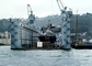 Nuclear Powered Sub in a floating drydock, American, Drydock, Crane, Submarine, Naval Base Point Loma, MYNV04P06_14