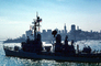 USS Berkeley (DDG-15), Charles F. Adams-class guided missile destroyer, skyline, cityscape, buildings, USN, United States Navy, MYNV04P11_04