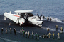 Grumman E-2C Hawkeye, 600, folded wings, steam, preparing for launch