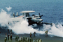 steam catapult, Grumman E-2C Hawkeye, 601, steam, ready for launch