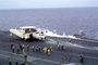"Grumman E-2C Hawkeye, NE-600, VAW-116 ""Sun Kings"", USS Ranger (CVA-61), steam, wings folded, preparing for take-off"