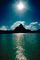 Mount Otemanu, Clouds, Mountains, Ocean, Sun Glint, reflection, wavelets, Pacific Ocean, Island of Moorea, NDPV02P07_17.0676