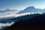 Clouds, Layered Mountains, ridgeline, trees, NNTV01P06_02
