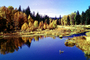 Woodland, Forest, Trees, Hills, Reflecting Lake, autumn, water, Equanimity, NPNV08P04_14