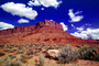 Mesa, Mountains, Castle Valley, east of Moab, geologic feature, clouds, Castleton Tower