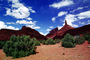 Mesa, Castleton Tower, Mountains, knob, cumulus clouds, bush, geologic feature, butte, Castle Valley, east of Moab