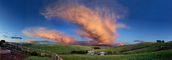 Amazing Sunset Clouds in the Valley, Mamatus Clouds, Sunclipse, Fence, Panorama, NWSD03_090