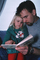 Father, Daughter, reading a book, PBTV03P14_02