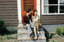 Couple sitting, home, house, stairs, 1950's, PBTV04P15_12