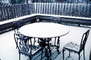Snowy Porch, Chairs, Table, Fence, Cold, Ice, Snow
