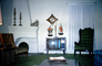 Television Screen, fireplace, curtains, chairs, scale, clock, PDFV02P07_07