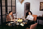 Man and Woman, Sitting, Dining Room Table, Candles, Table Settings, February 1960