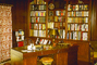 Lamp, Desk, Library, Book Shelf, Shelves