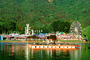 Lake, water reflection, raft, Ferris Wheel, Marin County Fair, California, PFFV04P10_08